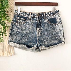 WILDFOX Acid Washed Bleached Cuffed Hi-Rise Shorts